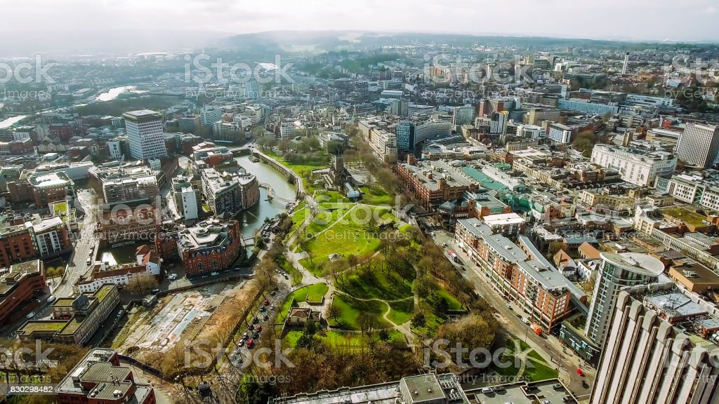 Bristol City Center Aerial View in England stock photo