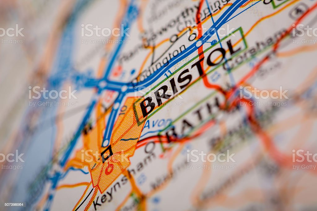 Bristol City on a Road Map stock photo