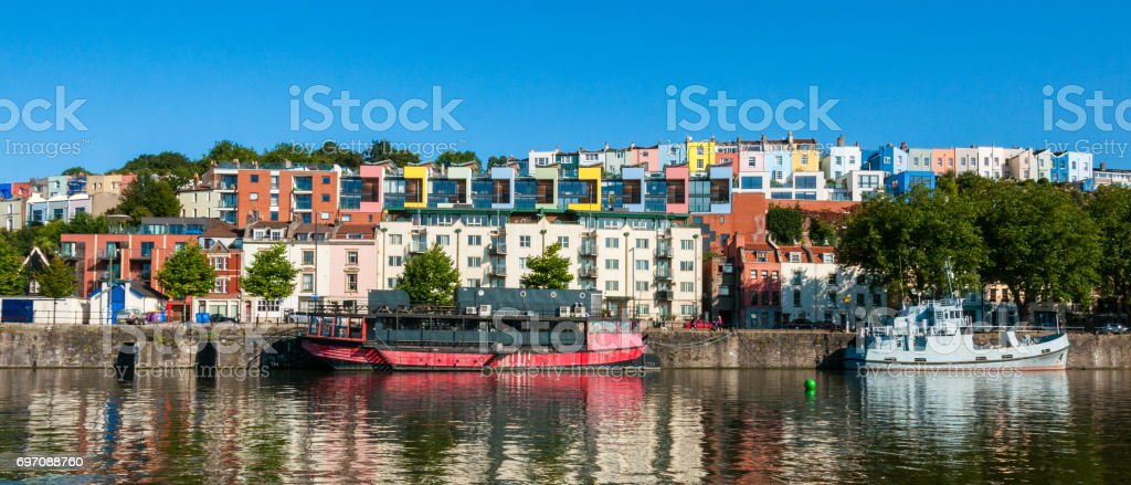 Bristol harbourside and clifton houses stock photo