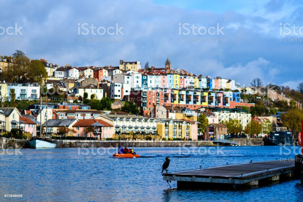 Bristol harbourside autumn stock photo
