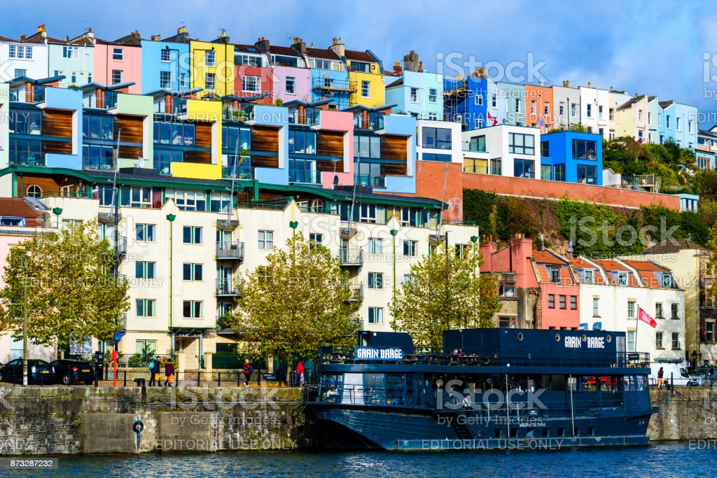 Bristol harbourside river, boats, houses, people, birds stock photo