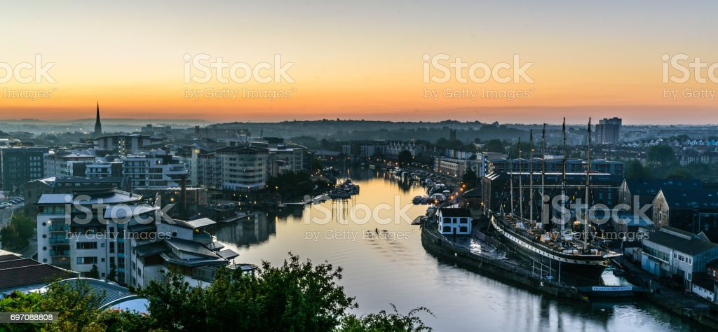 Bristol harbourside sunrise stock photo