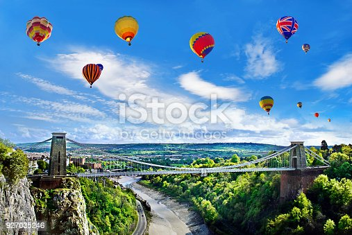 The World Famous Clifton Suspension Bridge, situated in Bristol, UK during the Annual International Balloon Festival.