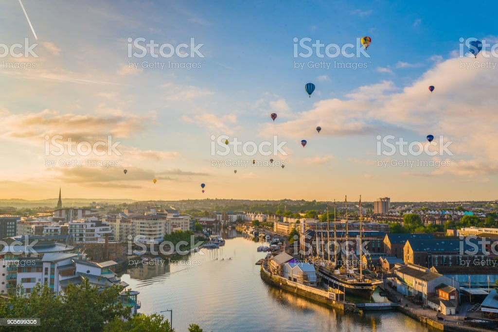 Bristol international balloon fiesta from harbourside stock photo