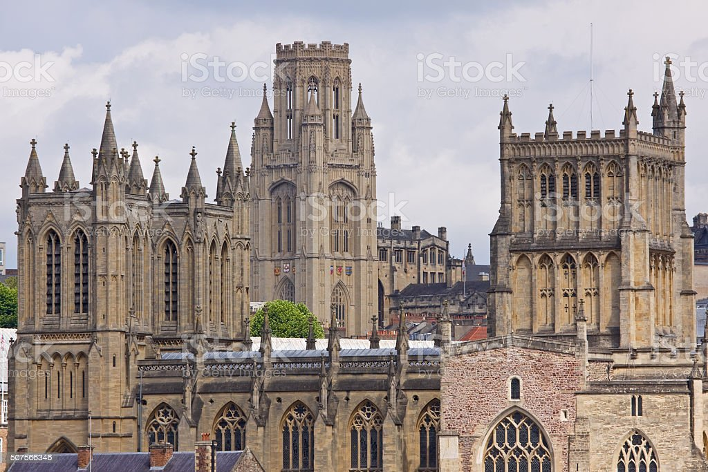Bristol skyline comprising classical towers of the university and cathedral stock photo
