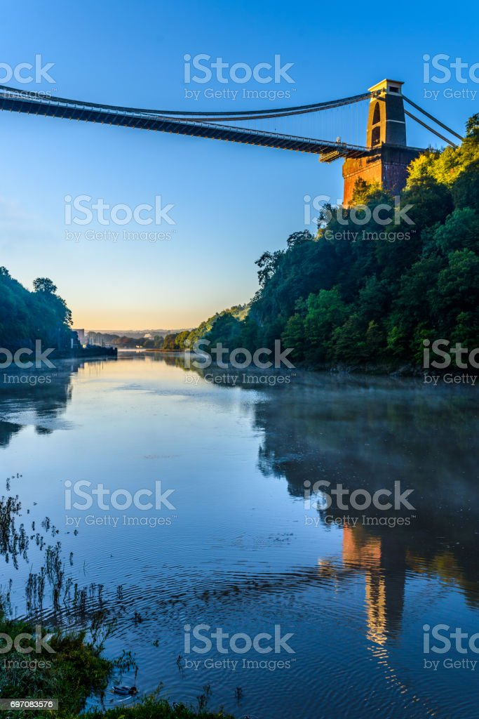 Bristol suspension bridge reflection on River Avon stock photo