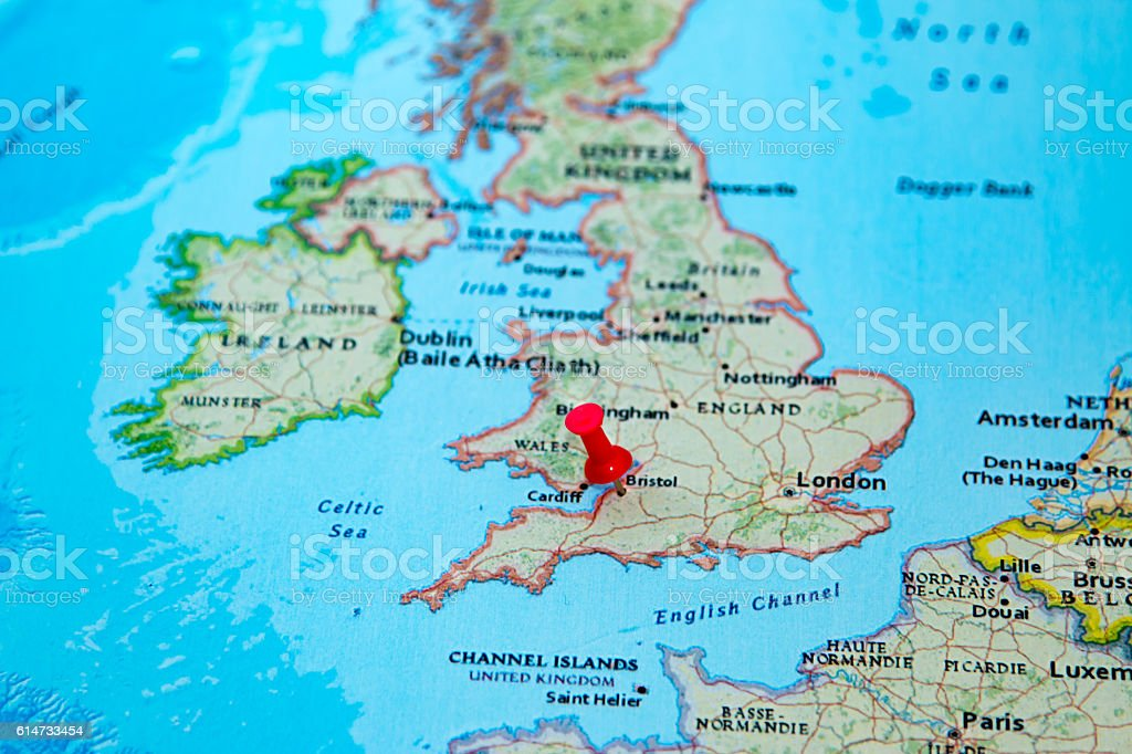 Map Of Bristol England.Bristol Uk Pinned On A Map Of Europe Stock Photo Download Image