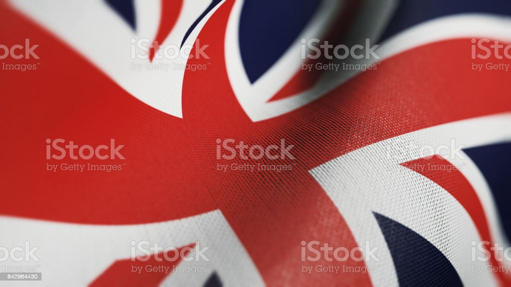 Britain Flag, British Flag Realistic 3D Illustration stock photo