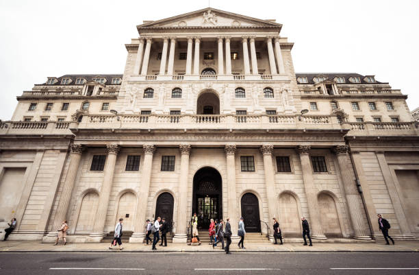 Britain's central bank, the Bank of England in the City of London stock photo