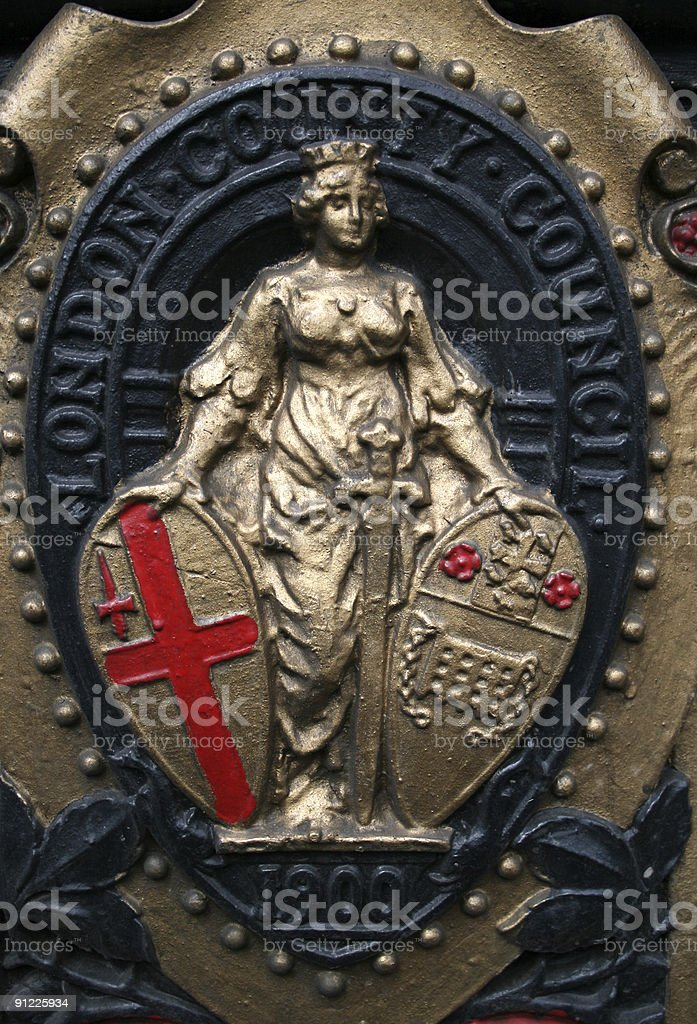 Britannia - detail of a street lamp in Wesminster, London royalty-free stock photo