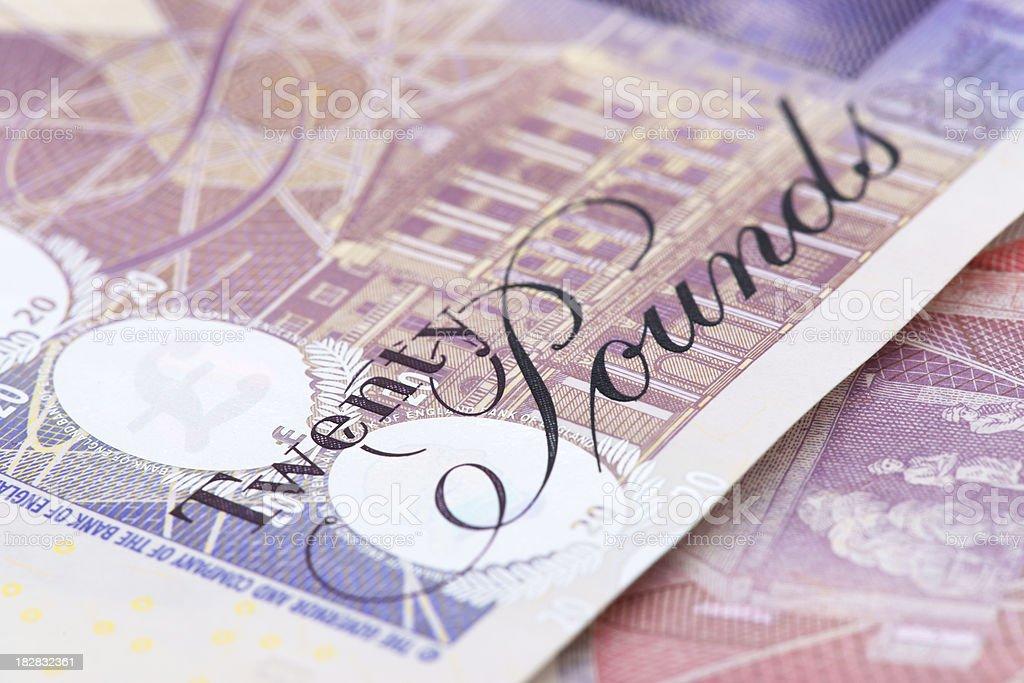 British 20 pounds banknote macro royalty-free stock photo