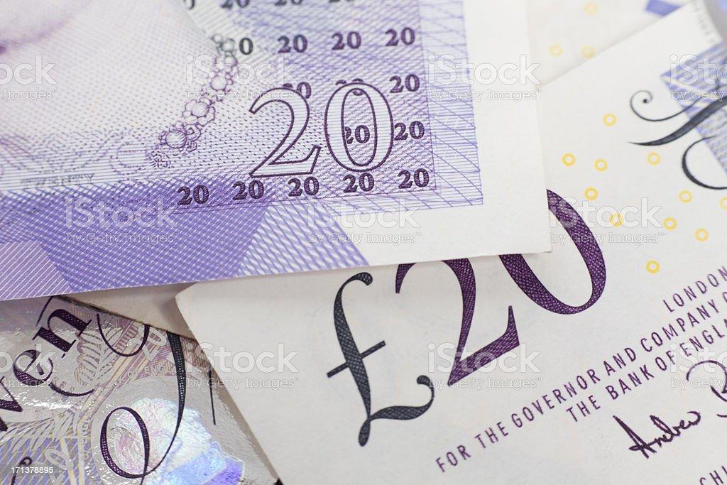 British 20 pounds banknote macro XXXL stock photo