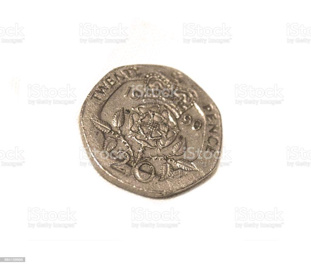 British 20 twenty pence  coin close up money foto stock royalty-free