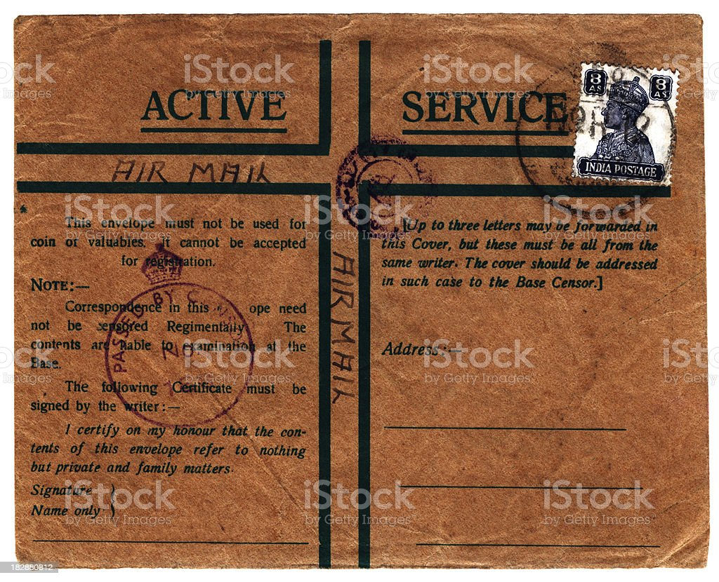 British 'Active Service' airmail from India (World War Two) royalty-free stock photo