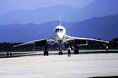 05/01/1984, Klagenfurt Austria. Supersonic passenger plane Concorde on the taxiway of Klagenfurt airport. Shot during a rare visit on the occasion of airport open day