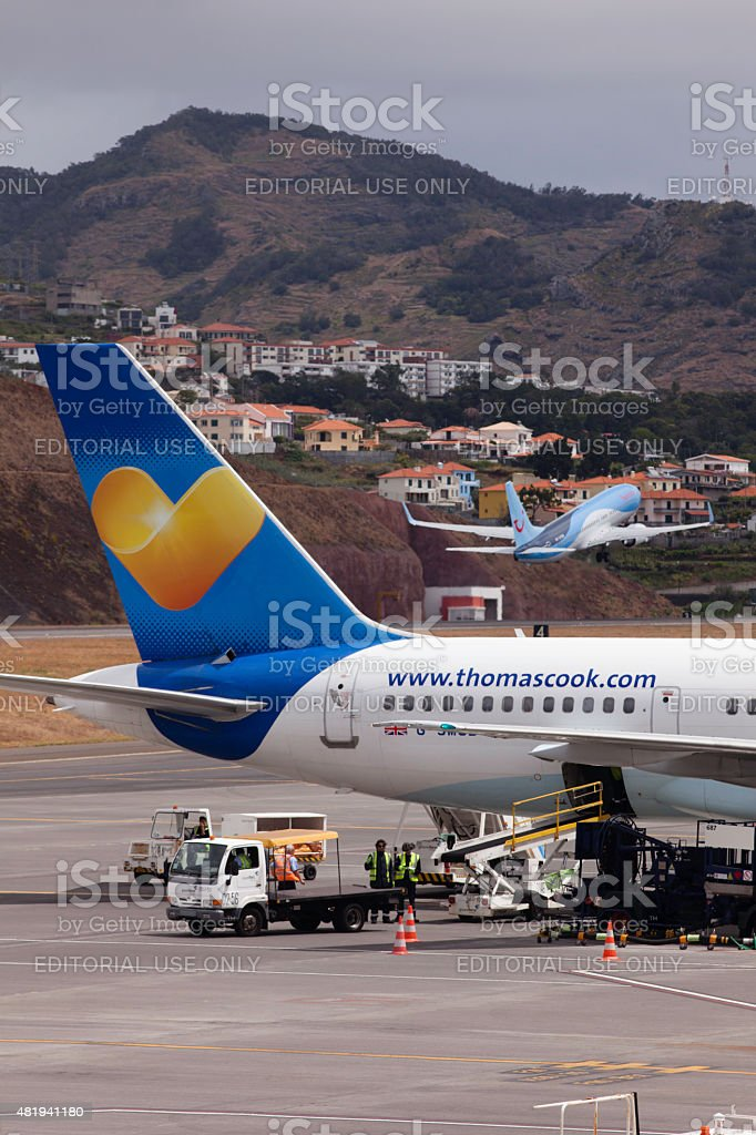 British airliners depart from Madeira's Funchal airport stock photo