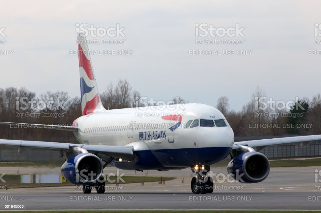 British Airways Airbus A320-200 A320-200 aircraft running on the runway royalty-free stock photo