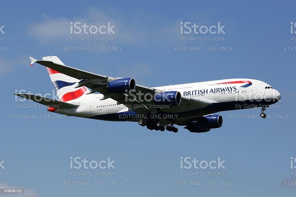 British Airways Airbus A380 airplane London Heathrow airport stock photo
