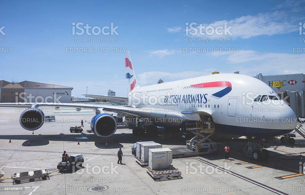British Airways Airbus A380 stock photo