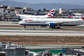 Los Angeles CA - May 24, 2019: An British Airways airplane at LAX airport on runway. Los Angeles International Airport, commonly referred to as LAX, is the primary international airport serving Los Angeles, California, and its surrounding metropolitan area. Busy day at the airport before the summer vacations.