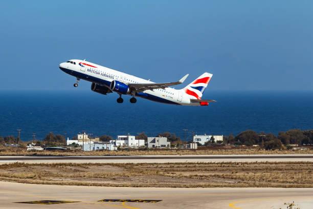 British Airways and blue sky stock photo