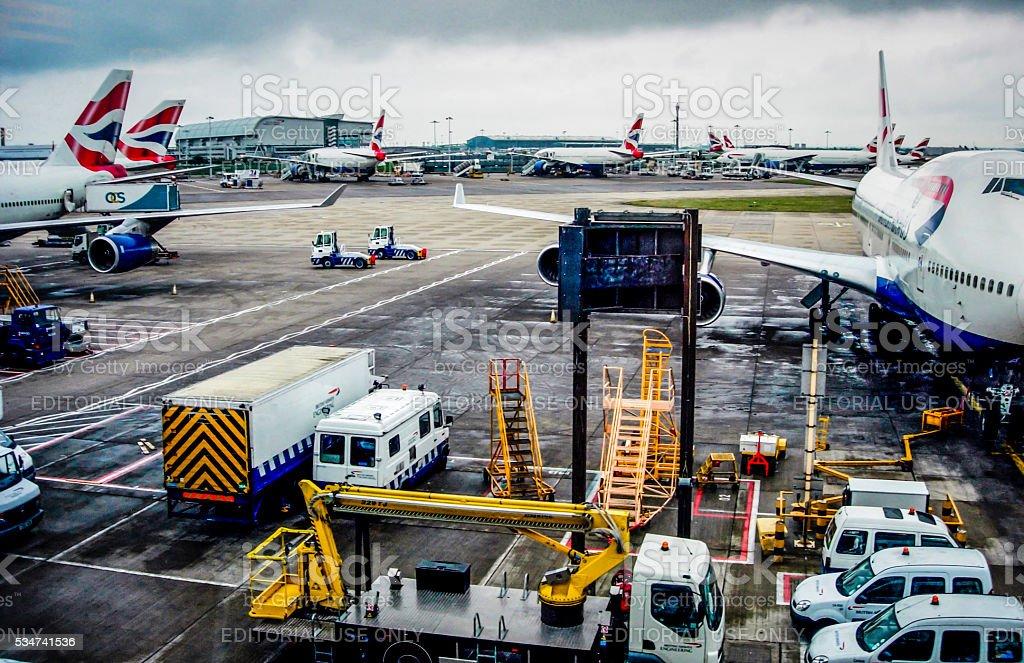 British Airways Boeing 747 at London Heathrow Terminal 4. stock photo