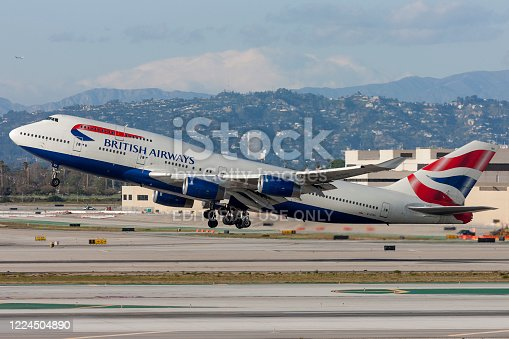 Los Angeles, California, USA - March 10, 2010: British Airways Boeing 747 Jumbo Jet taking off from Los Angeles International Airport.