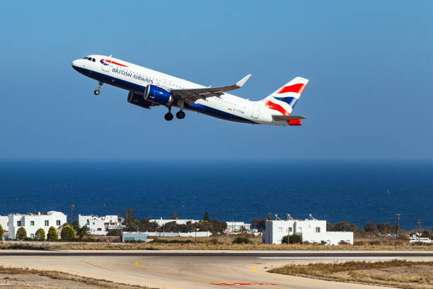 British Airways in air stock photo