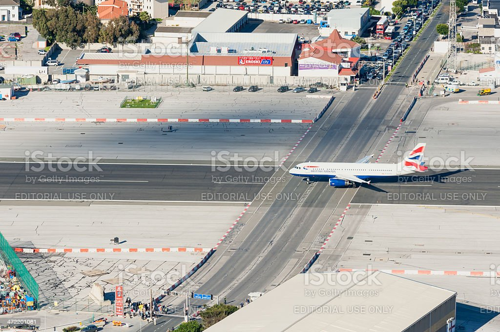 British Airways Plane moments before taking off from Gibraltar Airport stock photo