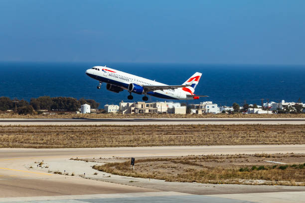 British Airways Plane taking off stock photo