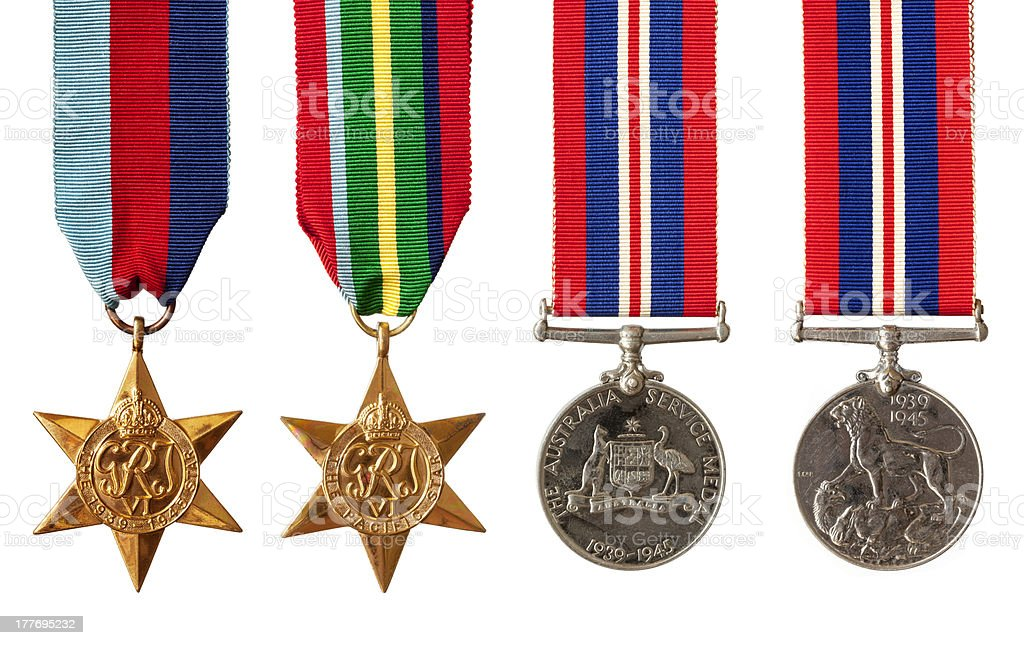 British and Australian War Medals Isolated stock photo