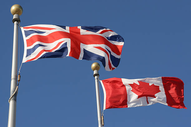 British and Canadian flags stock photo