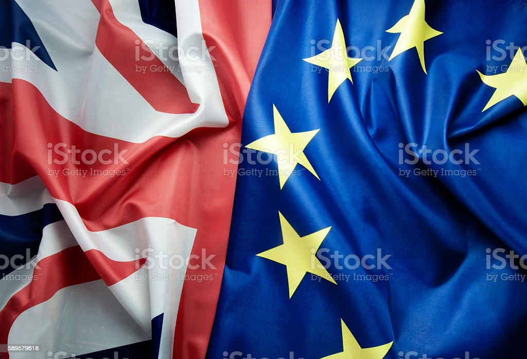 British and European flags Brexit concept UK and European flag together Brexit Stock Photo