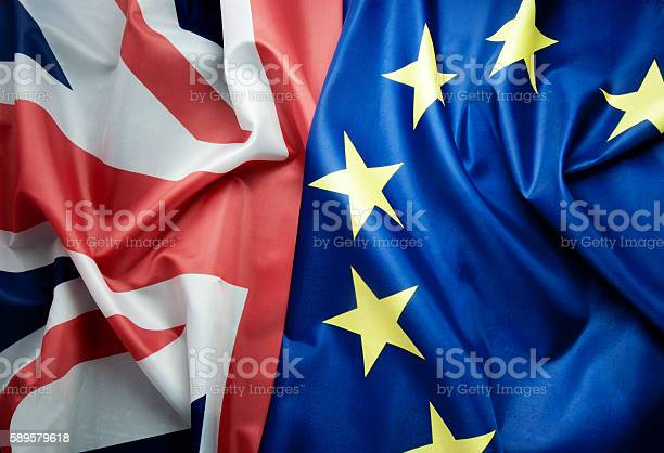 British And European Flags Brexit Concept Stock Photo - Download Image Now