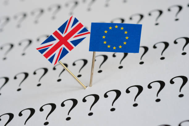 British and European union flags with question mark stock photo