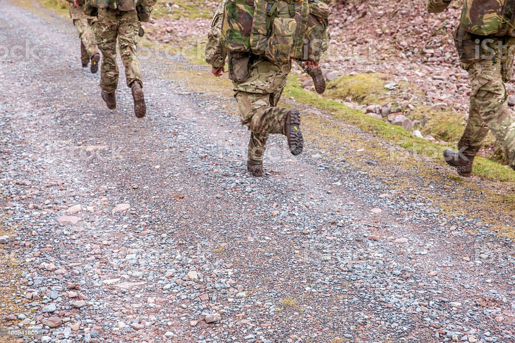 British army soldiers on training exercise stock photo