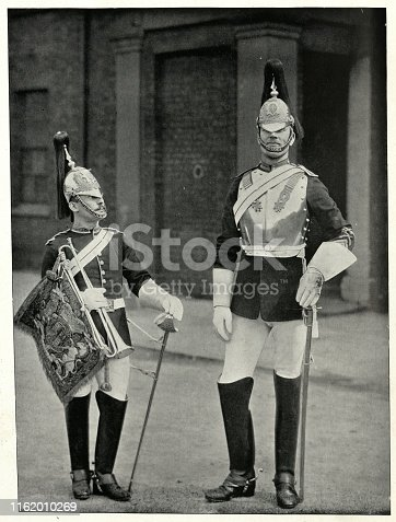 Vintage photograph of Trooper and Trumpeter of the Blues, (The Long and the short of it), 19th Century