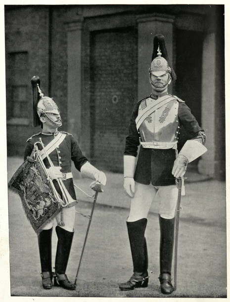 British Army, Trooper and Trumpeter of the Blues, 19th Century stock photo