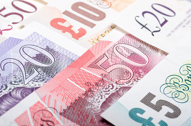 British bank notes Close up of British bank notes british currency stock pictures, royalty-free photos & images