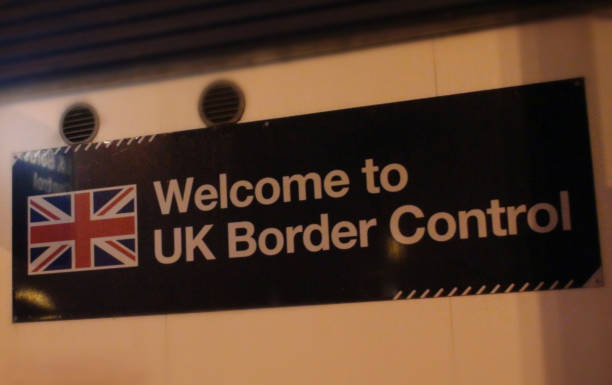 British Border Control Sign View British Border Control Sign View geographical border stock pictures, royalty-free photos & images
