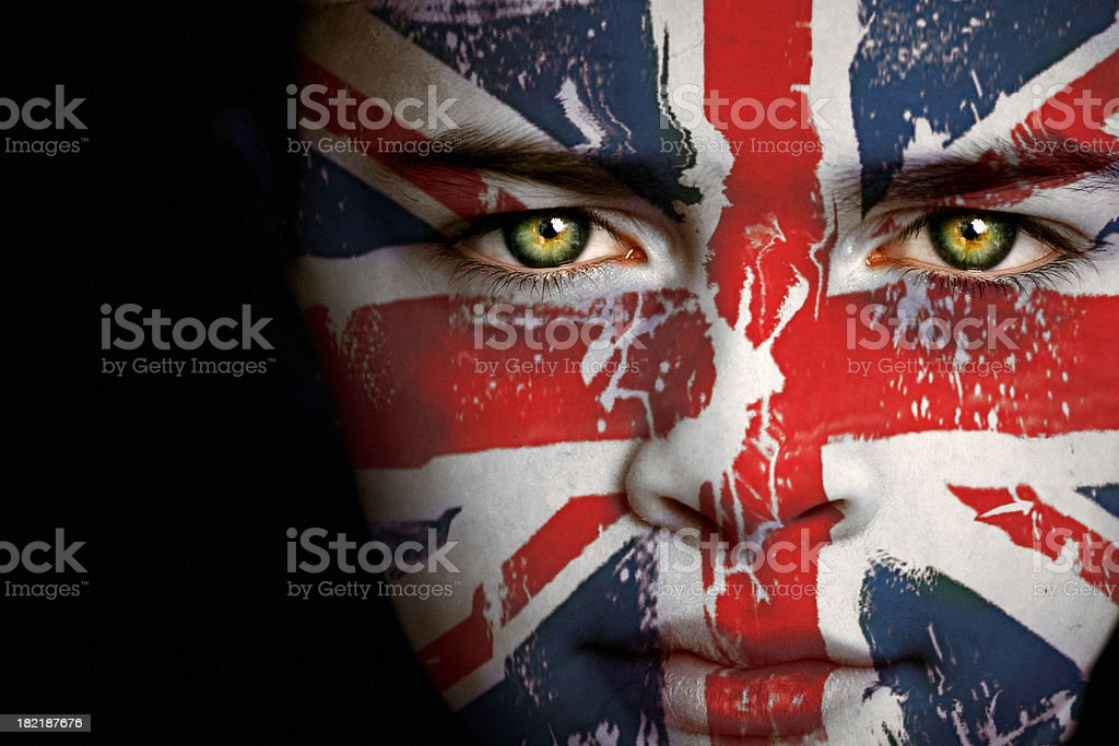 British boy with the flag of United Kingdom stock photo