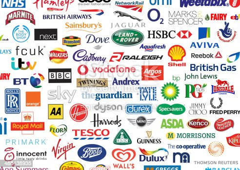 British Brands Company Identities Logos stock photo