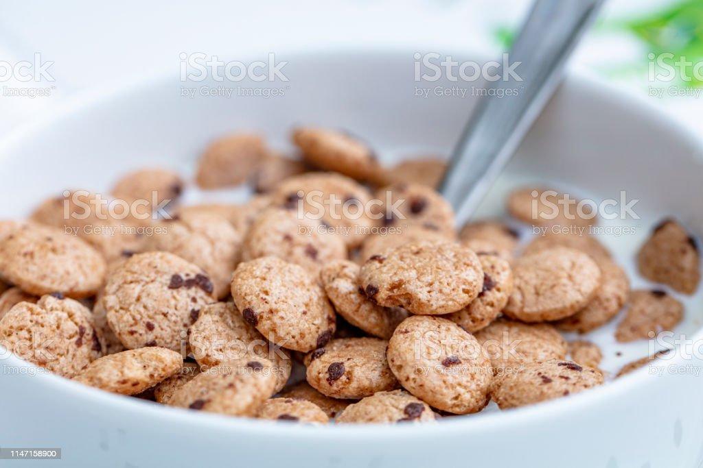 images en macro de céréales au petit déjeuner