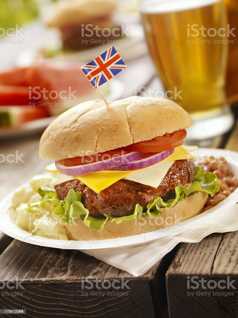 British Burger and a Beer royalty-free stock photo