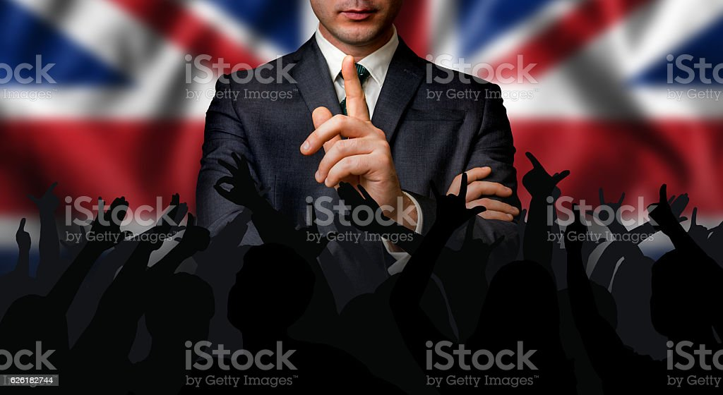 British candidate speaks to the people crowd stock photo