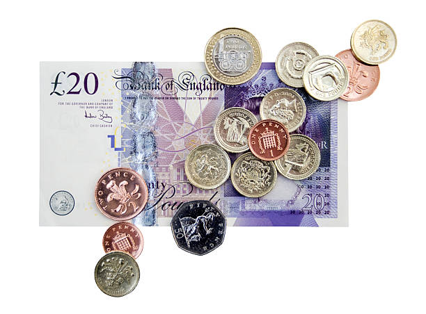 british cash clipping path - pound sterling isolated bildbanksfoton och bilder