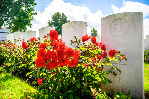British cemetery by Ypres in Belgium