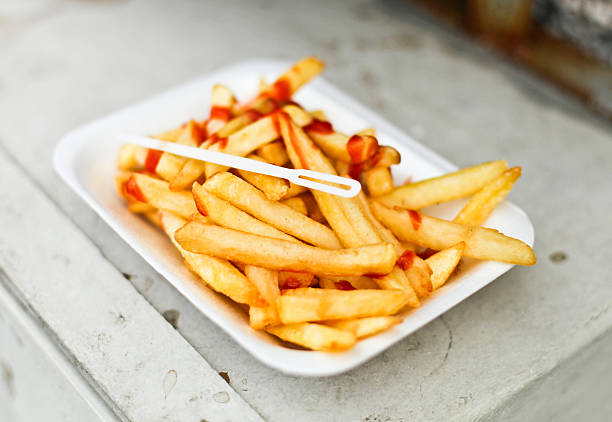 British Chips with Ketchup stock photo