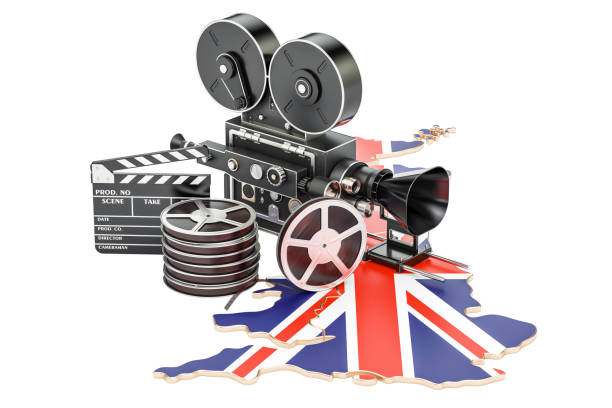 British cinematography, film industry concept. 3D rendering isolated on white background stock photo