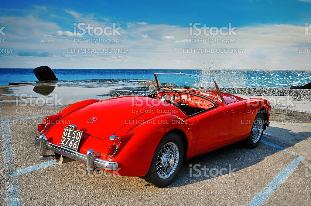 MGA 1500 British classic roadster 1960 from rear quarter stock photo